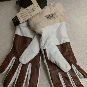 UGG Quilted Fur Cuff Leather Palm Gloves